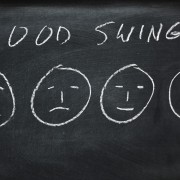 Faces from sad to happy on a blackboard showing mood swings.